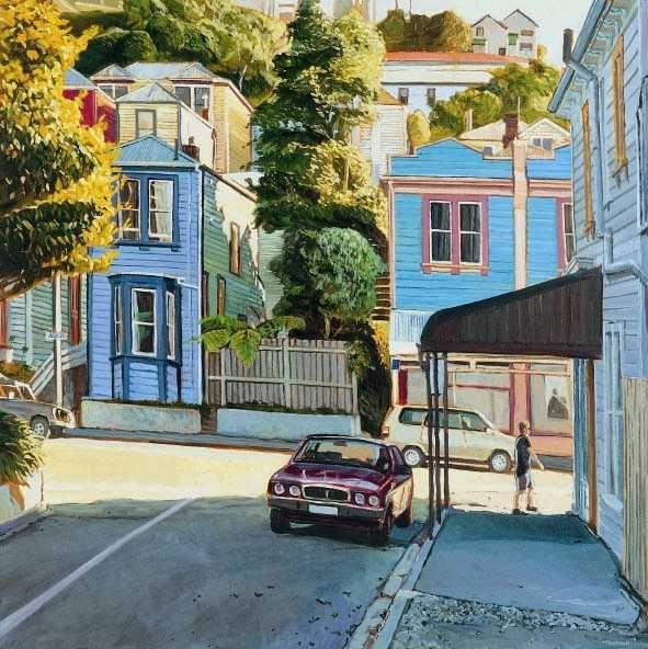 Epuni Street leading on to Aro Street, Wellington, New Zealand ©. I used to live on Epuni :) painted by Michael McCormack