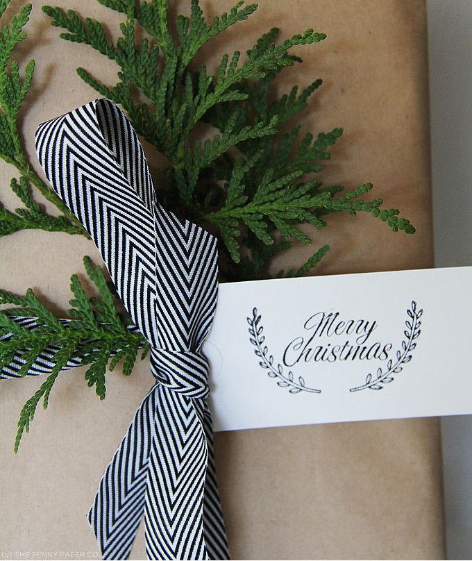 gift wrapping: chevron ribbon, wreath trimming, and brown paper