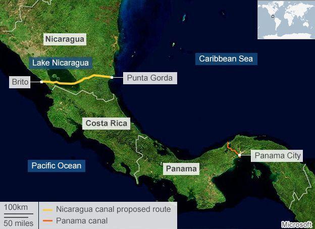 Map of Nicaragua and Panama