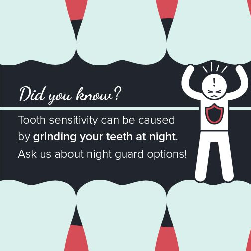 If you're experiencing tooth sensitivity, you may be grinding your teeth while you sleep without realizing it. Call our office to see if a custom-made night guard is the protection your teeth need. #dentistry