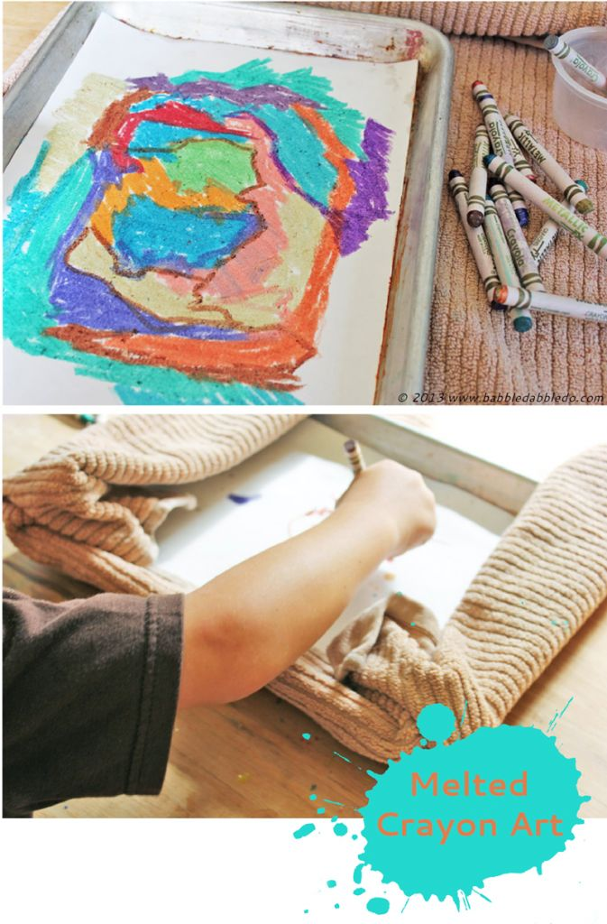 does melted crayon artwork on paper