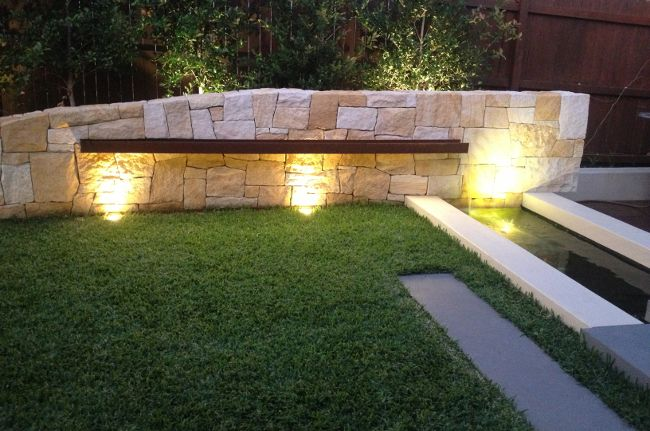 Sandstone Wall with Corten Steel water feature into pond in a Sydney Garden - www.impressionslandscape.com.au
