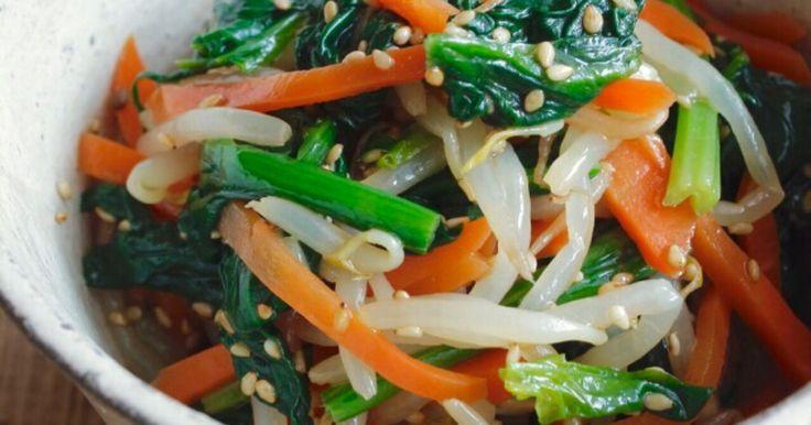 ★★★つくれぽ100件話題入りレシピ★★★ ほうれん草、にんじん、もやし! 色鮮やかなナムルはお弁当にも♪ 作りおきにも