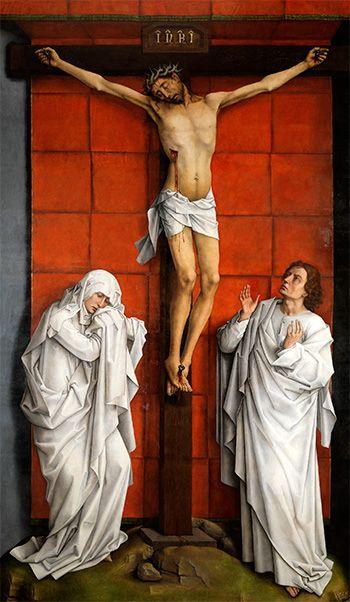 El CALVARIO  de VAN der WEYDEN En el centro, aparece la figura de tamaño natural de Cristo crucificado sobre una cruz en forma de T, que se cobija bajo un dosel fingido de color rojo. A los lados, las figuras de la Virgen y San Juan resaltan fuertemente con sus vestidos blancos, dando una impresión casi escultórica. El dramatismo de las tres imágenes y la plasticidad de sus formas, propias del artista, se ven aquí acentuados por la grandeza de la composición y por la tormentosa agitación de…