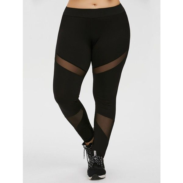 Plus Size Mesh Panel Workout Leggings ($14) ❤ liked on Polyvore featuring activewear, activewear pants, women's plus size activewear, plus size activewear, plus size sportswear and plus size activewear pants