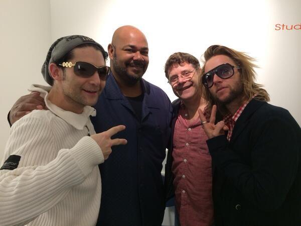 Corey Feldman, Kevin Michael Richardson, Sean Astin and Greg Cipes behind the scenes at Teenage Mutant Ninja Turtles.