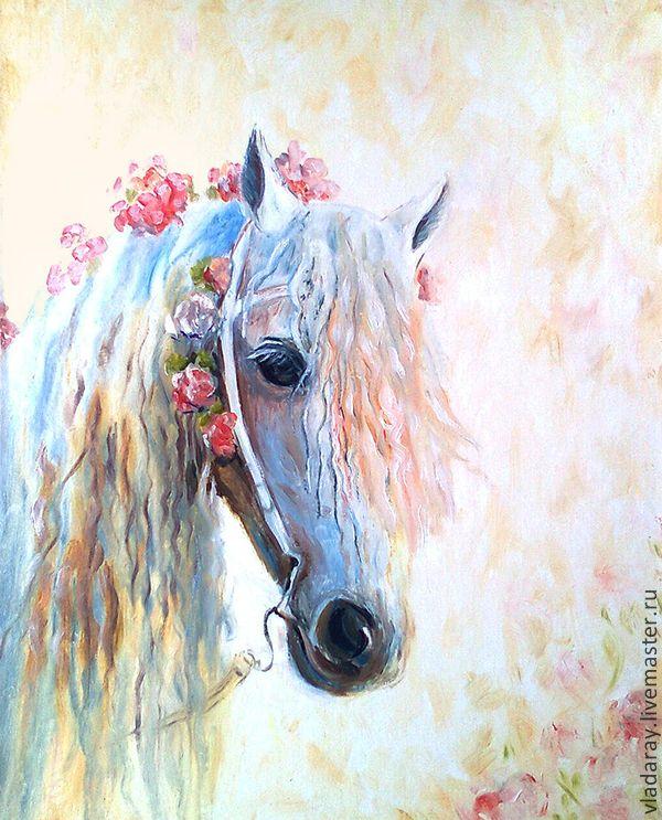 """Купить картина """"Цветочная лошадка"""" - картина маслом лошадь, купить картину маслом"""