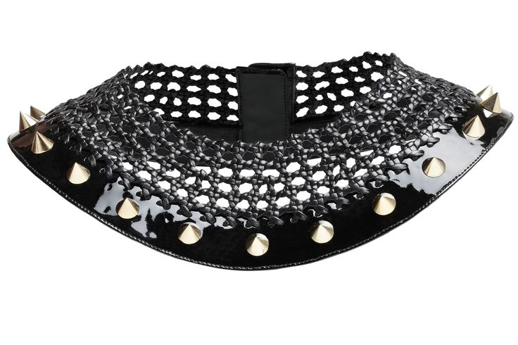 Bruna, hand woven leather necklace with studs
