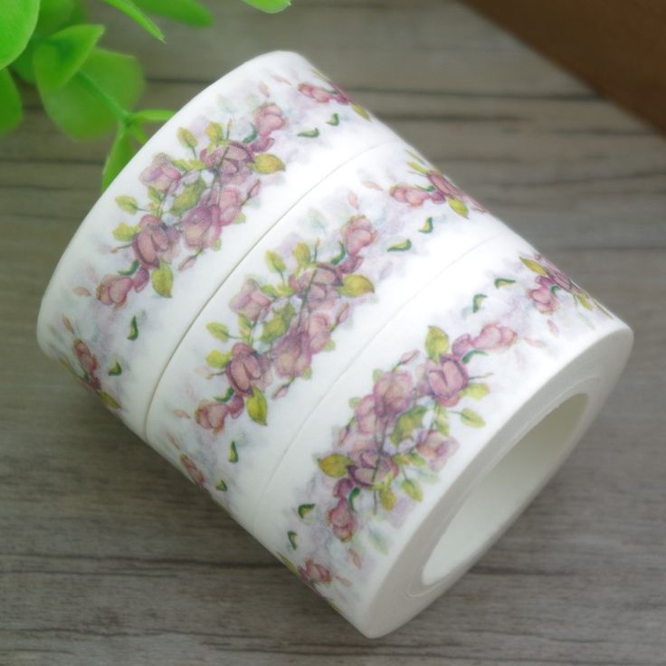 2017 New 1x White Colored Bouquet of Flowers Floral Washi Tape Cinta Adhesiva Ruban Adhesif  Decorative Masking Tape 10M