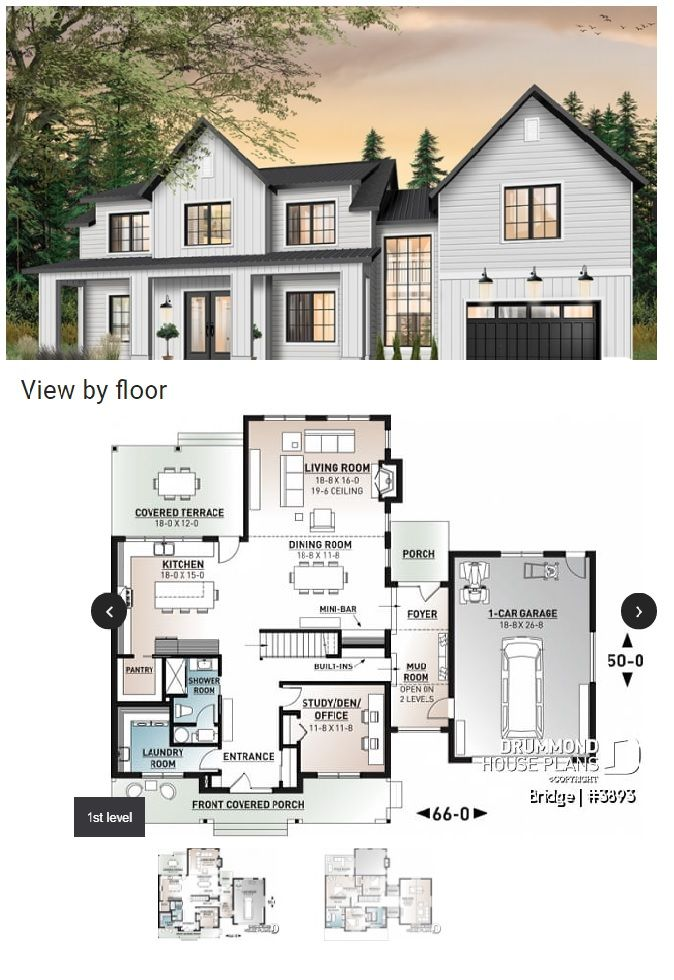 White Modern Farmhouse Style With Covered Porch In 2020 House Plans Farmhouse House Plans Modern Farmhouse Plans