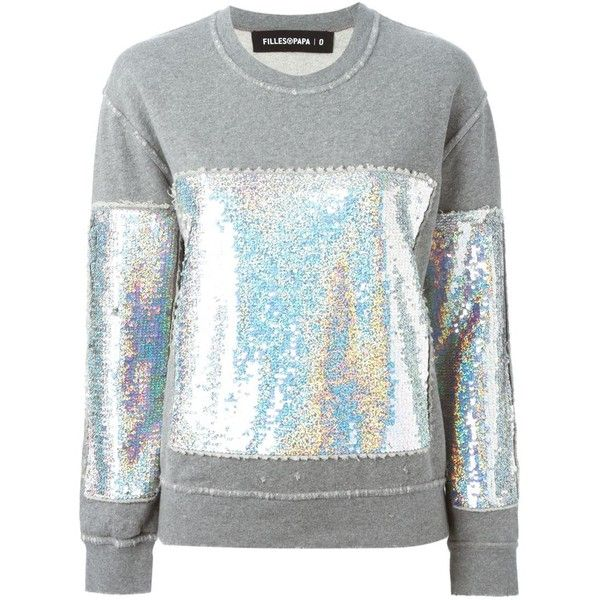 FILLES A PAPA 'Starky' sequinned sweatshirt found on Polyvore featuring tops, hoodies, sweatshirts, sweatshirts hoodies, cotton sweatshirt, gray sweatshirt, gray top and sweat shirts