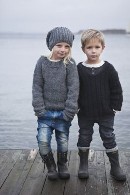 Rocking the wellies + fisherman sweaters.