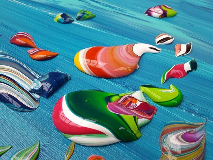 Red Sea - groot abstract schilderij met zeer dikke verf-klodders, afmeting 180 x 80 x 4,5 | 1. Schilderijen: KLEUR -bont | Galerie Taupe STUDIO…