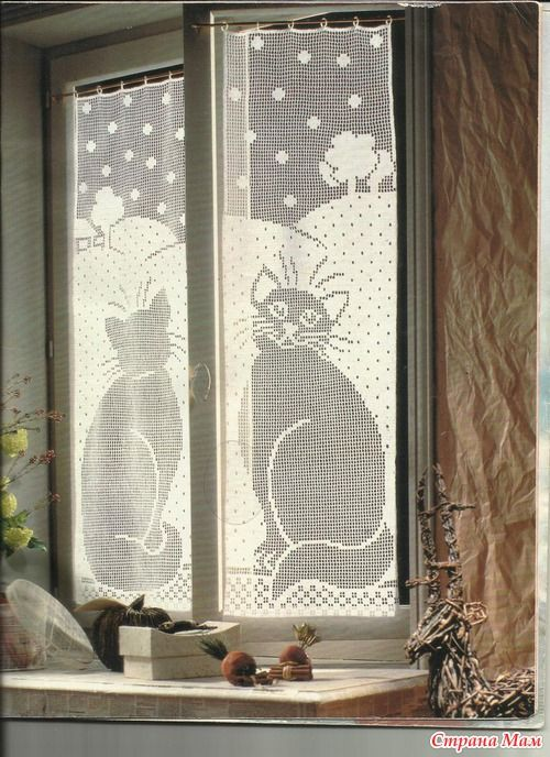 Cat curtains - front and back, filet work with diagrams