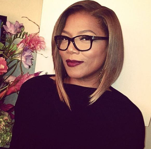 QueenLatifah, wow. love the A Line cut, sharp and blunt. Perfect for her face.