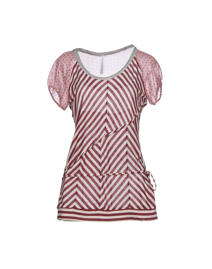 Jersey Stripes Round collar Short sleeves Lacing top.