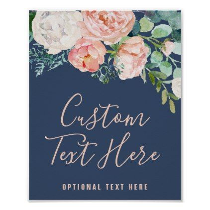 Romantic Peony Flowers | Blue Custom Text Sign - floral style flower flowers stylish diy personalize