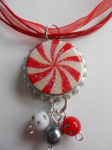 PEPPERMINT RED ALTERED ART Bottle Cap NECKLACE  bling beads Jewelry handmade bottlecapjen by bottlecapjen for $6.95