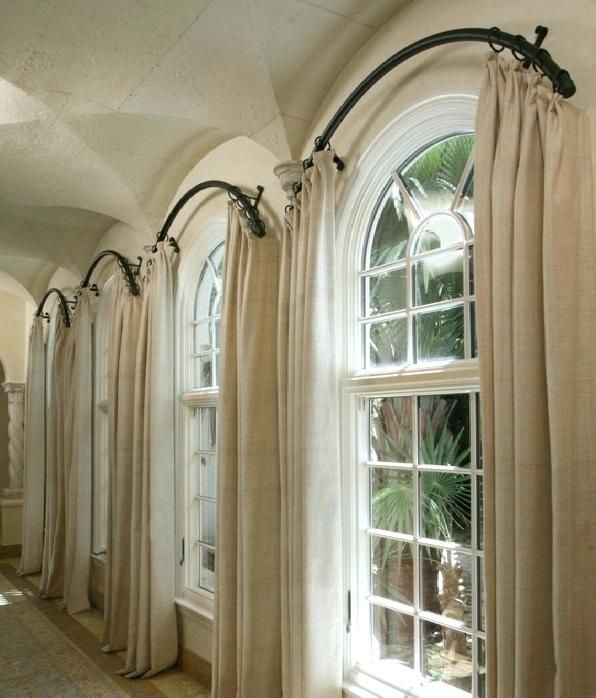Curtains For Arched Windows Arched Or Curved Window Curtain Rod