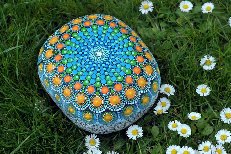 Dream reader - hand-painted stone - mandala by AnjaSonneborn on Etsy https://www.etsy.com/au/listing/513398020/dream-reader-hand-painted-stone-mandala