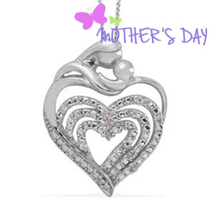 Diamond (Rnd) Pendant With Chain in Platinum Overlay Sterling Silver with Stainless Steel 0.100 Ct. 1229053