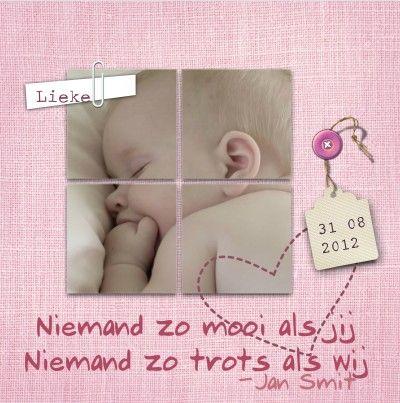 Geboortekaartje met de tekst uit het liedje Niemand zo trots als wij van Jan Smit.