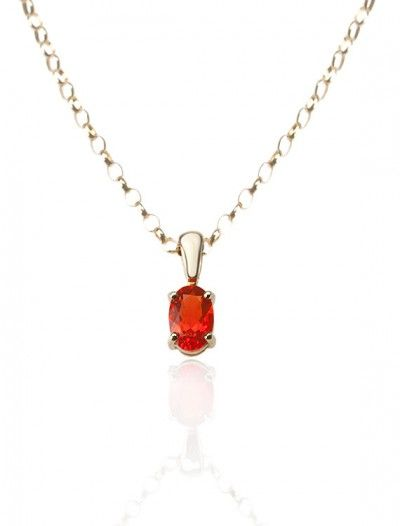 Yellow Gold Fire Opal Pendant & Chain- Available at Onyx Goldsmiths
