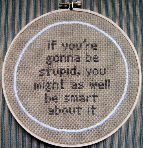 """the wisdom of Bobby Singer (from 7.06 Slash Fiction"""")  I totally got the idea from here. And, well, sometimes I like to cross-stitch nerdy things."""