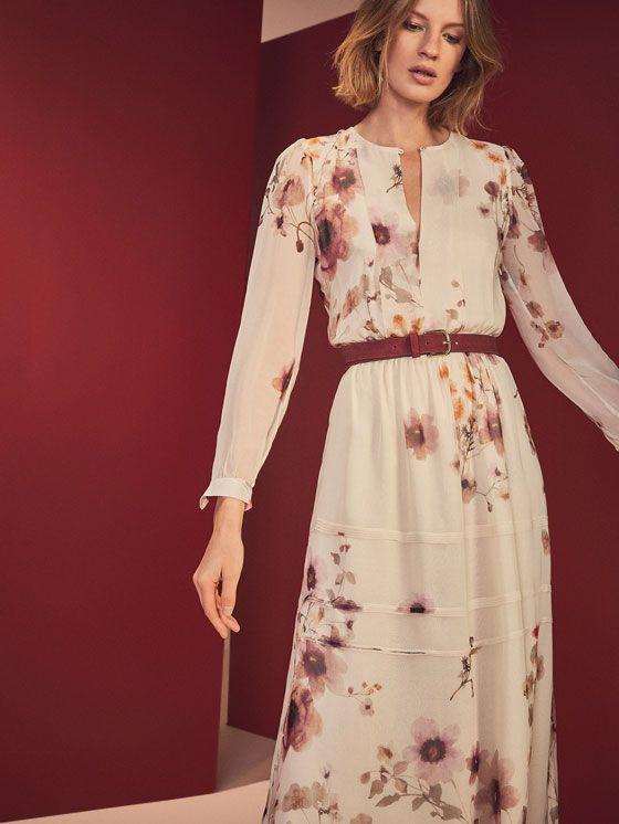 FLORAL PRINT SILK DRESS de WOMEN - Dresses and Jumpsuits de Massimo Dutti de Otoño Invierno 2016 por 99.95. ¡Elegancia natural!