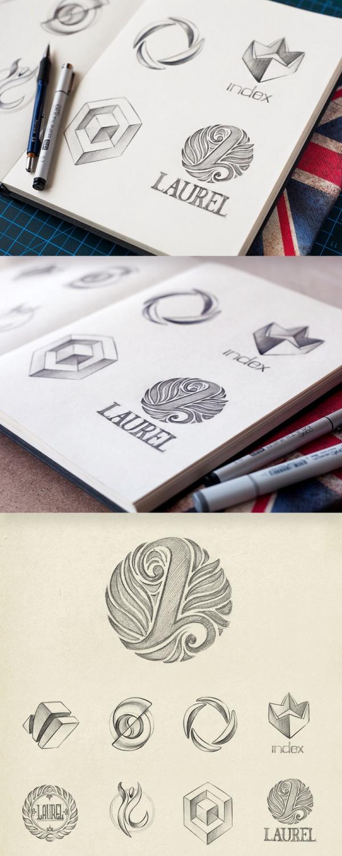 Gotta love hand-drawn sketches! Sketches of logotypes and symbols. from Helene Eskildsen. via BleckConsulting.com
