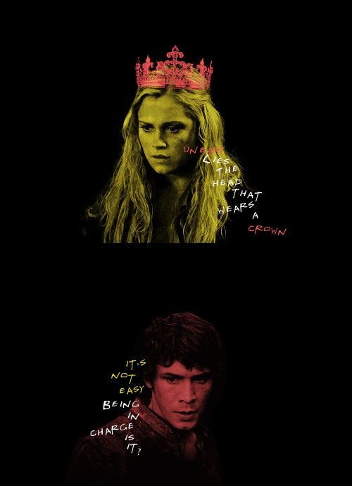 The Leaders || Clarke Griffin and Bellamy Blake || The 100 || Bellarke || Eliza Jane Taylor and Bob Morley