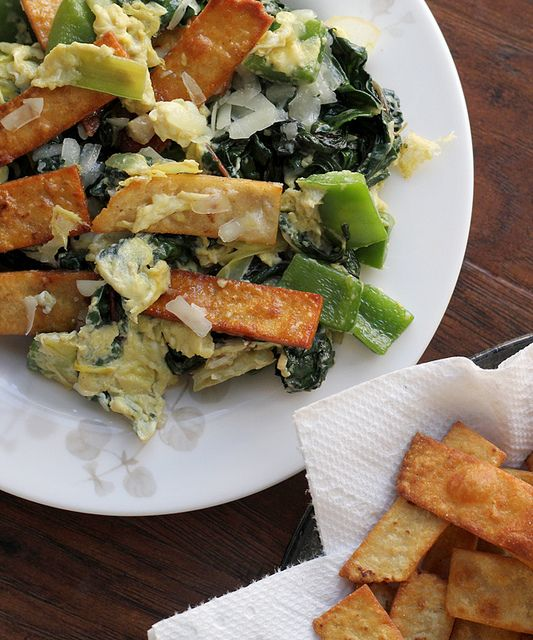 Swiss Chard and Leeks Migas by eatswellwithothers