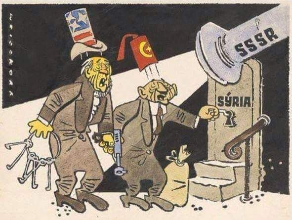 History Repeats Itself: a 1958 Cartoon Depicts Today's Events:  http://www.syrianews.cc/history-repeats-itself-usa-turkey-vs-syria-russia/  #USA & #Turkey vs. #Syria & #Russia