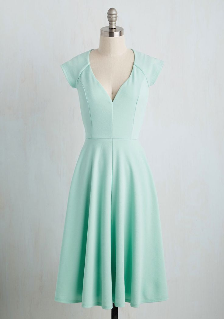 Name the Date Dress. When your love offers to take you anywhere you wish, you let this mint dress dictate the flavor of the evening. #mint #modcloth