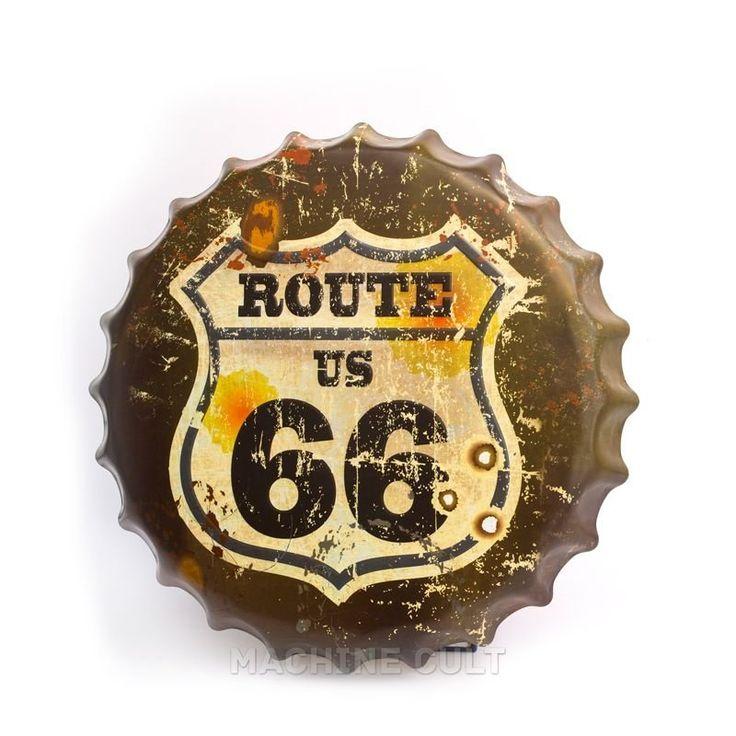 Placa Rota 66 - Alto Relevo - Machine Cult   Loja online especializada em camisetas, miniaturas, quadros, placas e decoração temática de carros, motos e bikes