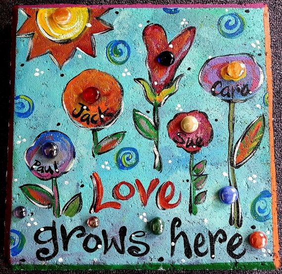 Love Grows Here Garden Stone Aqua