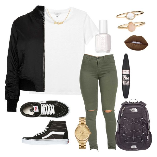 """""""Untitled #237"""" by kingrabia on Polyvore featuring Monki, Vans, Lacoste, Essie, The North Face, Topshop, Accessorize, Maybelline and Lime Crime"""