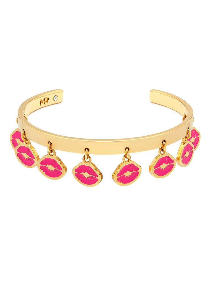 'Punk Kiss' cuff bracelet with multi charms: a thin rigid cuff with all-over dangling enamelled signature 'Kiss stamp' charms. Opened at the back for adjustable sizing.