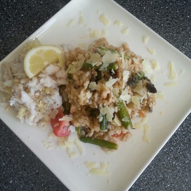 Asparagus and Mushroom Risotto with Lemon baked and flaked Hoki