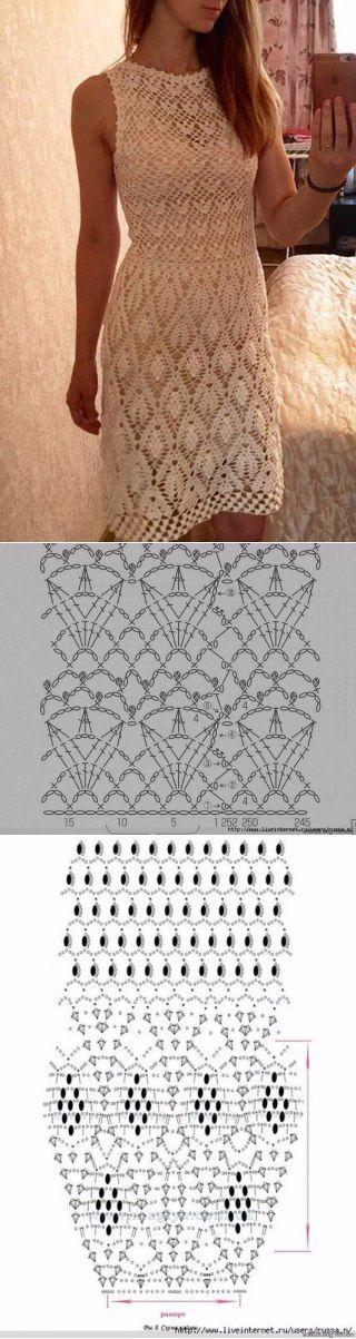 Красивое платье крючком схема. Летнее платье крючком краивым узором |