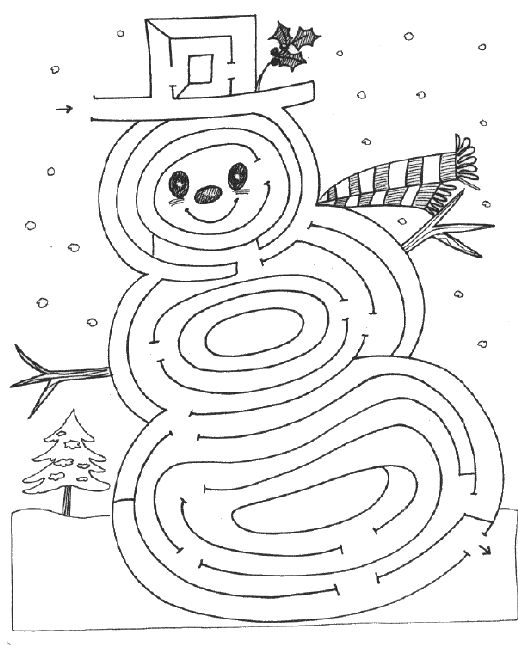 Snowman Maze and Coloring Page