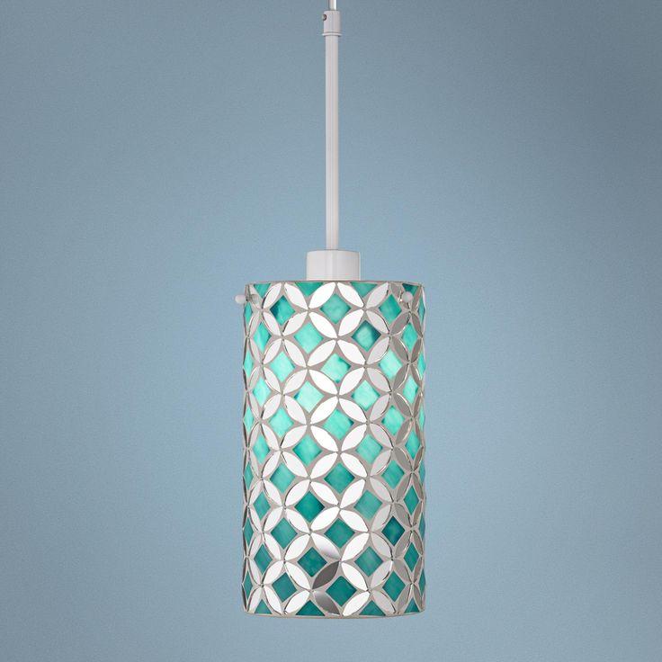 Gemma Turquoise Mosaic Glass Mini Pendant -