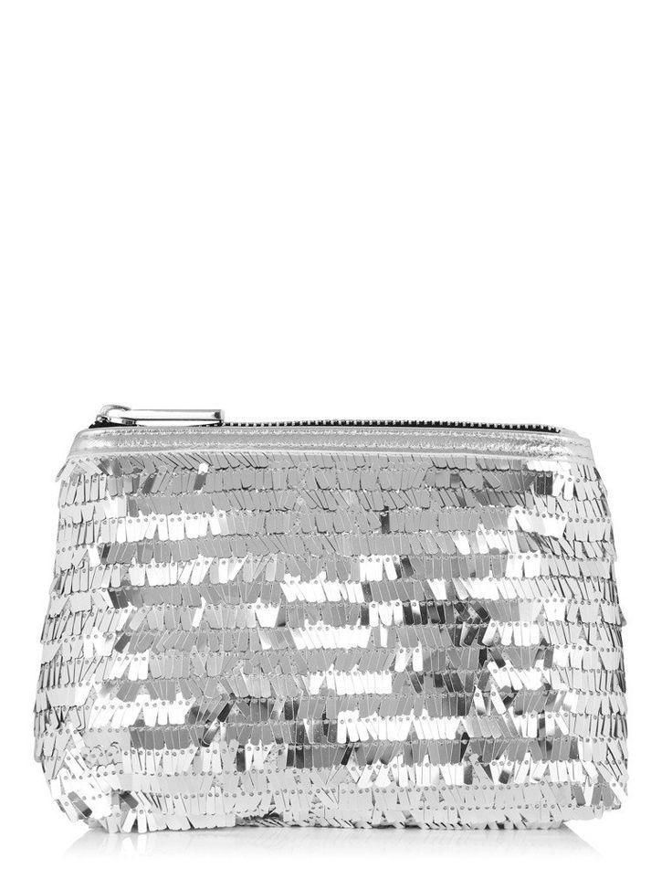 Silver Sequin Make Up Bag