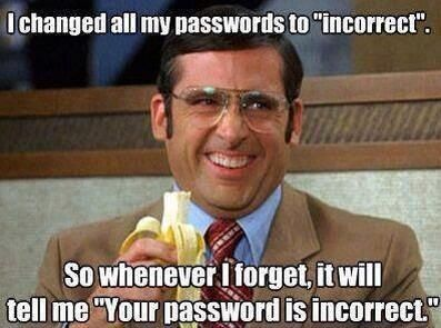 This is pure genius! :) If anyone was trying to hack your accounts, the password would be staring them right in the face and they wouldn't even know it! Brilliant! lol :)