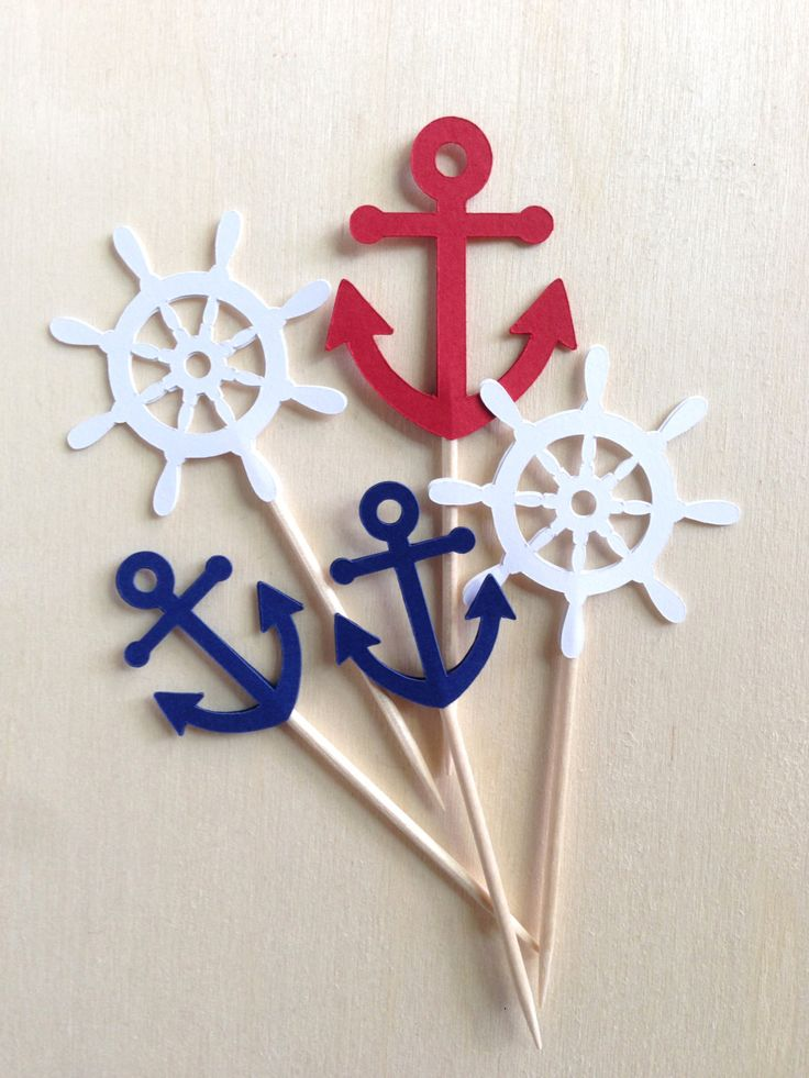 Mini Nautical Anchor Cupcake Toppers, Mini Cupcake Toppers, Shower, Wedding, Party Decor, Navy Blue, Double-Sided, Set of 18 - pinned by pin4etsy.com