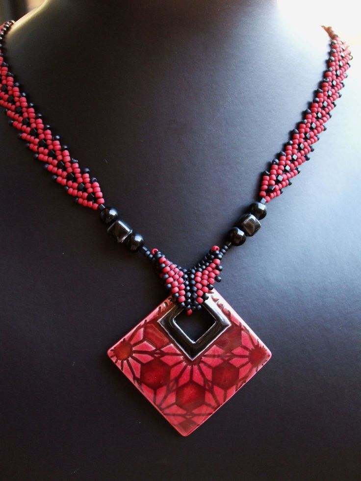 Porcelain pendant and necklace in St Petersburg stitch.