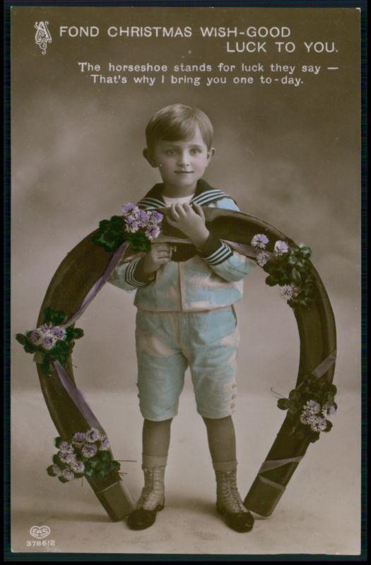 Красивый матрос ребенок мальчик удача шарм подкова оригинальная старая фото открытка 1910s | eBay