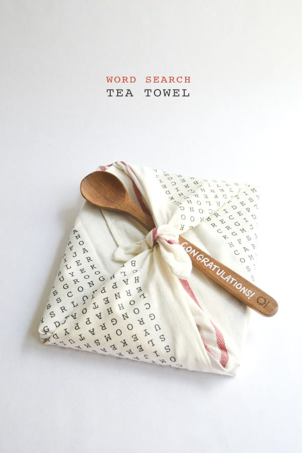diy word search tea towel, could make gorgeous wrapping for favours, vintage fabric and linen would be lovely too