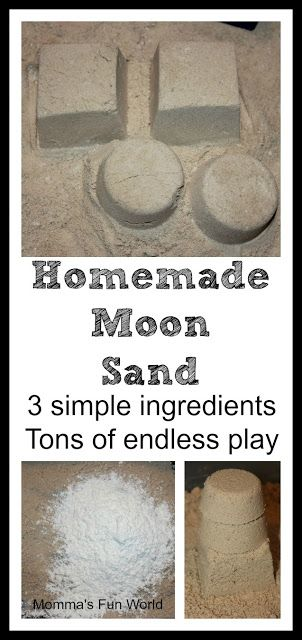 homemade moon sand recipe using 3 simple ingredients, she also has recipes for fake snow and play dough, etc.