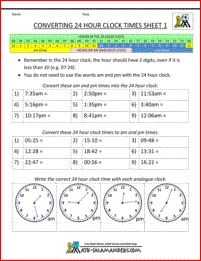 24 hour clock worksheets sheet 1. Convert times between 12 and 24 hour clock.